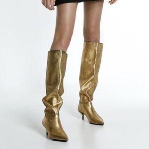 Zara Metallic Boots (euro 40) size 9